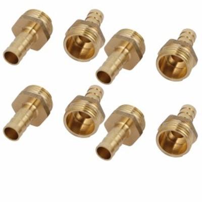 uxcell ホースバーブ継手 カプラ コネクタ アダプタ 真鍮材質 ホース外径10mm おねじ径20mm ストレートタイプ 8個入り