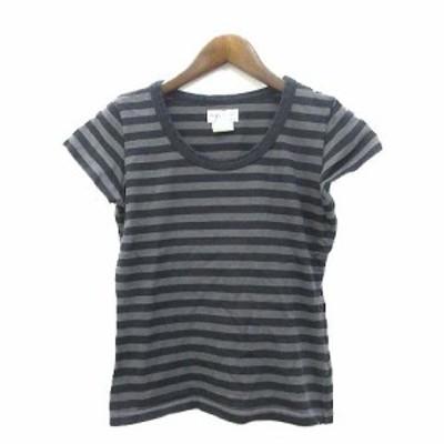 【中古】アニエスベー agnes b. Tシャツ 1 S グレー コットン 半袖 ボーダー シンプル レディース