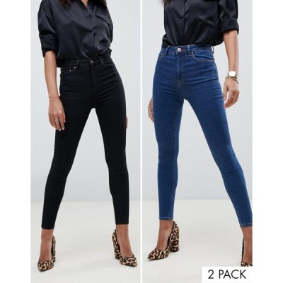 エイソス レディース デニム ボトムス ASOS DESIGN Ridley skinny jeans 2 pack in black and mid blue wash save 16% Multi