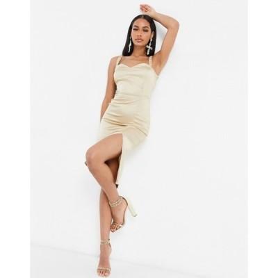 ナーナー レディース ワンピース トップス NaaNaa satin body-conscious midi dress with thigh slit in champagne