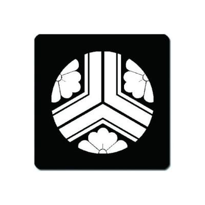 家紋シール 白紋黒地 三つ割り亀甲に花菱 10cm x 10cm KS10-1351W
