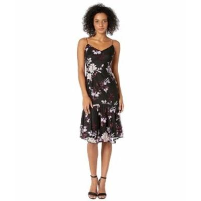 アドリアナ パペル レディース ワンピース トップス Petite Floral Sequin Midi Dress Pinot Noir