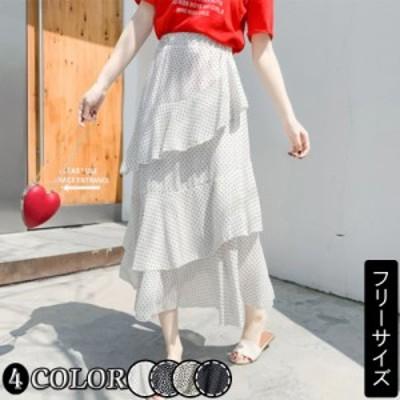 ティアードスカート シフォンスカート 水玉柄 ドット柄 夏 ロング丈 マキシスカート 結婚式 お呼ばれ イレギュラースカート オフィス