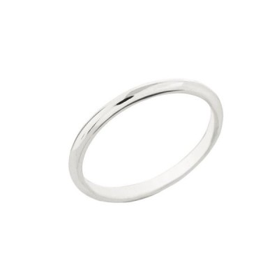 Dainty 10k White Gold Comfort-Fit Band Traditional 2mm Wedding Ring fo