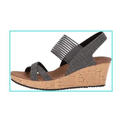 Skechers Women's Beverlee-High Tea Wedge Sandal, black, 6 medium US【並行輸入品】