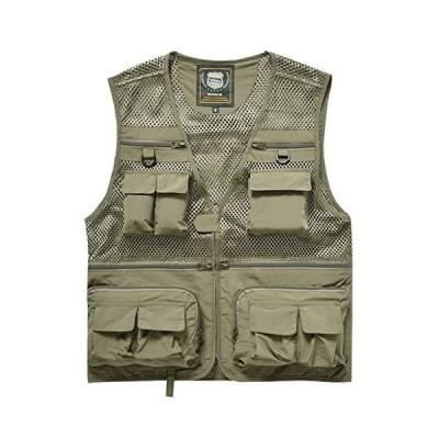 全国送料無料!Men Lightweight Mesh Multi-Pockets Vest Outdoor Travel Fly Fishing Photography Safari Utility Vest (Color : Green, Size