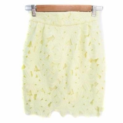 【中古】リリーブラウン Lily Brown スカート タイト ひざ丈 レース 刺繍 花柄 1 黄色 イエロー /FF44 レディース