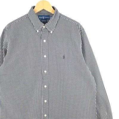 古着 大きいサイズ 旧タグ ラルフローレン 長袖ボタンダウンシャツ オールドラルフ メンズUS-XLサイズ チェック柄 黒 ブラック系 tn-0458n