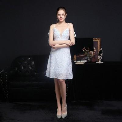 安いパーティードレスAライン可愛いスパンコールミディドレス結婚式イブニングドレス2次会披露宴演奏会