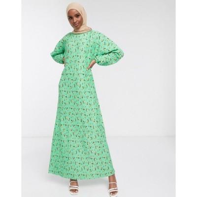 エイソス マキシドレス レディース ASOS DESIGN plisse maxi dress with long sleeves in green floral エイソス ASOS グリーン 緑