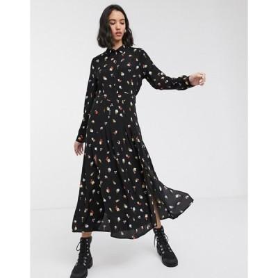 オンリー レディース ワンピース トップス Only maxi shirt dress in black floral