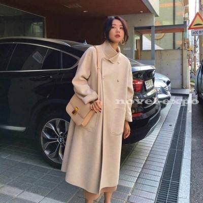 レディース コート ロングコート スタンドカラー アウター 秋 冬 おしゃれ お出かけ お呼ばれ オフィス ホワイト ピンク ブラック S M L XL サイズ