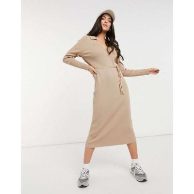 エイソス ミディドレス レディース ASOS DESIGN maxi dress with open collar and tie detail in camel エイソス ASOS