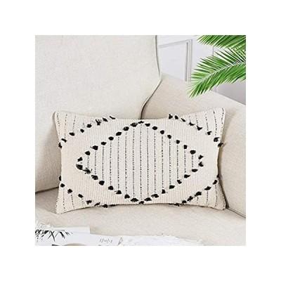 OJIA Farmhouse Diamond Black and Cream Throw Pillow Cover, Decorative Triba