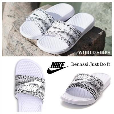 サンダル ナイキ ベナッシ メンズ レディース Nike Benassi 'Just Do It' Print ホワイト/ブラック【海外限定・正規品】