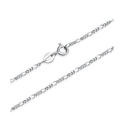 SILBERTALE 1.5mm 925 Sterling Silver Italian Figaro Chain Necklace 14 inch