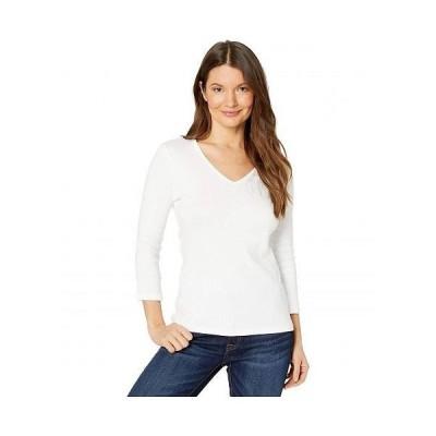Lilla P リラP レディース 女性用 ファッション Tシャツ 1x1 Rib 3/4 Sleeve V-Neck Top - White