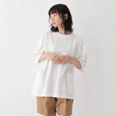 ベース コントロール BASE CONTROL 抗菌防臭 ビッグシルエット カーゴポケット ロゴワンポイント刺繍Tシャツ (アイボリー)
