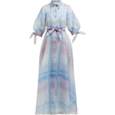 ルイザ ベッカリア Luisa Beccaria レディース パーティードレス ワンピース・ドレス Watercolour-print organza gown Blue