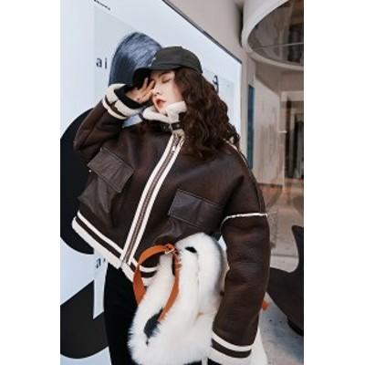 ボアジャケット 韓国 オルチャン ファッション つやつや ショート丈 バイカラー 裏ボア 大人可愛い カジュアル ガーリー ナチュラル きれ
