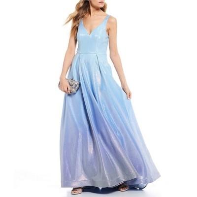 ビーダーリン レディース ワンピース トップス Sleeveless V-Neck Glitter Shine Ombre Ballgown