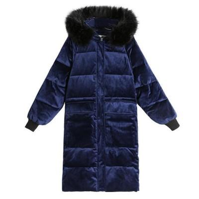 冬物 レディース 中綿ジャケット ダウンコットン ロング丈 中綿コート ファーフード付き 柔らかい ベルベット 厚手 防寒着