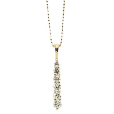 ダイヤモンド ネックレス 0.320カラット 18金イエローゴールド K18 縦ライン グラデーション ほんのりイエロー /黄(イエロー)/アウトレット・新品/届10/1点もの