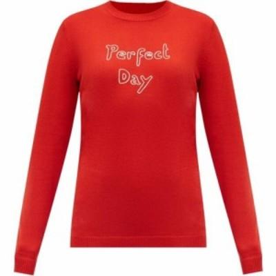 ベラフルード Bella Freud レディース ニット・セーター トップス Perfect Day embroidered merino-wool sweater Red