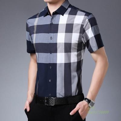 シャツ 着 ボタン トップス 半袖 ビジネス 格子柄 折り襟 チェック柄 フォーマル 薄手 開襟シャツ 夏向き メンズ カジュアルシャツ ワイシャツ