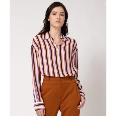 シャツ ブラウス オーバーサイズ フィット マルチカラーストライプ シャツ