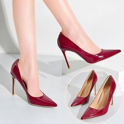 エナメル パンプス ハイヒール ポインテッドトゥ ピンヒール パーティ 美脚 ヒール10cm 結婚式 二次会 フォーマル歩きやすい 靴 走れる  通勤
