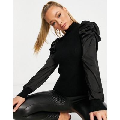 キューイーディーロンドン QED London レディース ニット・セーター トップス jumper with satin puff sleeve in black ブラック