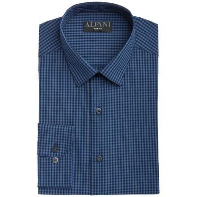 アルファニ メンズ シャツ トップス Men's Slim-Fit Gingham Check Dress Shirt