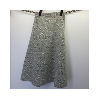 昭和レトロ スカート 花柄 白黒 秋冬用 JAPAN古着 sy861