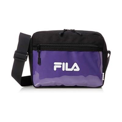 フィラ ショルダーバッグ メンズ 斜めがけ クリアポケット スクエア カジュアル 軽量 小さめ ブランド ロゴ 黒 ブラック×パープル ブラ