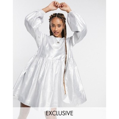 リクレイムドヴィンテージ ミディドレス レディース Reclaimed Vintage inspired taffeta mini smock dress in silver エイソス ASOS シルバー 銀