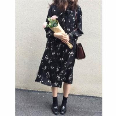 レトロ 花柄 ワンピース ワンピース 秋冬 花柄 ワンピース 花柄 ワンピース 花柄のワンピース 黒ワンピース 黒のワンピース 黒いワンピー
