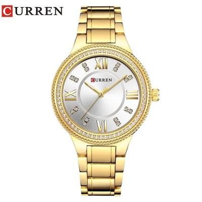 腕時計 レディース ファッション ステンレススチール ラインストーン ゴールドホワイト
