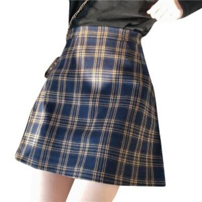 韓国 ファッション 春服 レディース チェックスカート チェック ミニスカート ハイウエストスカート 春 スカート ショートスカート 韓国