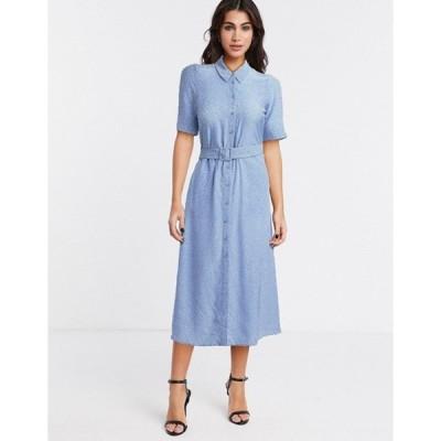 アンドアザーストーリーズ レディース ワンピース トップス & Other Stories ditsy floral print belted midi shirt dress in blue