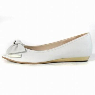 【中古】ダイアナ DIANA パンプス フラット オープントゥ バレエシューズ リボン レザー ホワイト系 24 靴 レディース