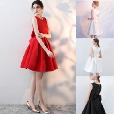ミニドレス パーティードレス ミニ ドレス ワンピース ノースリーブ バックリボン Aライン 大きいサイズ 小さいサイズ