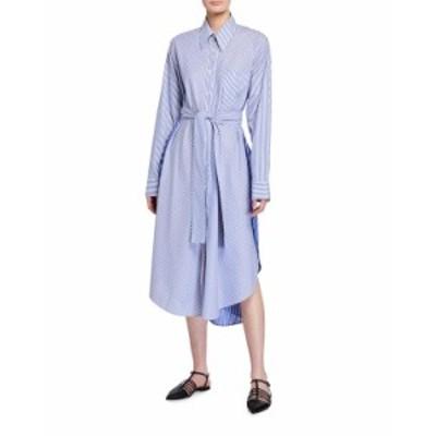 ステラマッカートニー レディース ワンピース トップス Kyra Pinstriped Poplin Shirtdress BLUE/WHITE