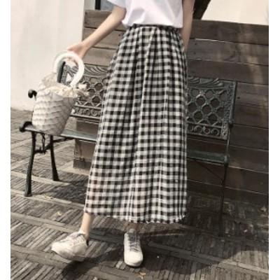 韓国 ファッション レディース スカート ロングスカート ギンガムチェック ロング丈 ハイウエスト Aライン フレア シンプル 大人可愛い