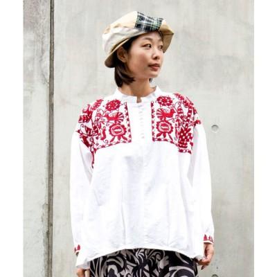【チャイハネ】yul 刺繍バンドカラーブラウス レッド