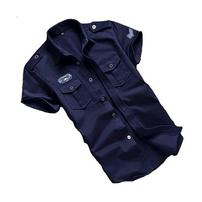 (huanggu)フアング ミリタリ シャツ ブラウス Tシャツ yシャツ 長袖 半袖シャツ メンズ オックスフォ ド ボタンダウン ワイシャツ 無地