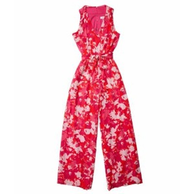 カルバンクライン レディース ジャンプスーツ トップス Printed Jumpsuit with Self Tie Belt Hibiscus Multi