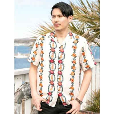 【Kahiko】TWO PALMS ドールMEN'Sアロハシャツ クリーム