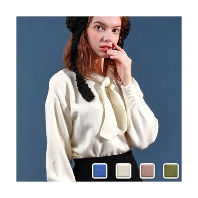 ニット レディース リボン 長袖 トップス リボンタイ セーター 可愛い 白 青