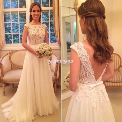 ウェディングドレス Aライン ボートネック 花嫁 フレンチ袖 ロングドレス ウェディング レース シフォン 大きいサイズ ポイント消化